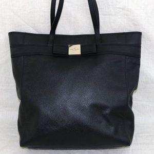 KATE SPADE black leather XL tote shoulder handbag